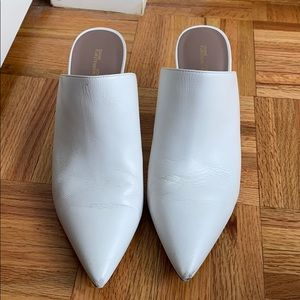 DVF White Mules 7.5 with Heel